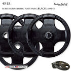 NEW Body-Solid - ORT45 - Black Rubber Grip Olympic Plate Pairs - 45 lb
