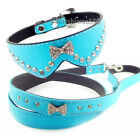 Rhinestone Dog Collar Crystal Jeweled Leather Bowknot Cat Puppy Collar Leash set