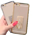 Clear Soft Silicone Finger Ring Back Case For iPhone 5 6sp With Holer Cover Fad