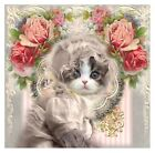 Whimsy Dust Kitten & Roses Collage Fabric Block Multi Szs FrEE ShiP WoRld Wide