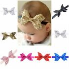 """4"""" Synthetic Leather Glitter Bow Headband Head Hair Band Bands Baby Girls"""