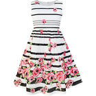 US STOCK Sunny Fashion Girls Dress Black Striped Pink Flower Sundress Size 4-12