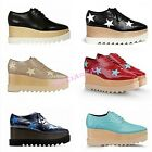 Womens Wedge Heels Platform Oxford Lace Up Goth Stars Shoes British EUR33-40