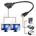 HDMI Male Dual Twin HDMI Female 1 to 2 Way Splitter Adapter Cable For HD TV UK