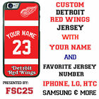 Custom DETROIT RED WINGS Jersey Phone Case Your Name for iPhone Samsung HTC LG