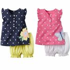 Baby Toddler Girl Cute Summer Flower/Butterfly Vest Top+Pants Outfit Clothes Set