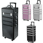 Aluminum 4 in1 Rolling Makeup Trolley Train Case Box Organizer Salon Cosmetic