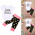 Little Big Sister Matching Outfits Girls Baby Romper Kids Tops + Polka Dot Pants