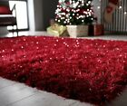 DAZZLE SPARKLE SPARKLY SOFT RICH RED SILKY THICK LONG PILE GLAMOUR SHAGGY RUG
