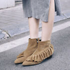 Lady Suede Zipper Shoes US 6-12 PU Leather Flounced Boots Women's Boot