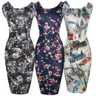 Womens Retro 50s Abstract Print Sleeveless Slim Work Cocktail Party Pencil Dress
