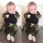2pcs Newborn Toddler Infant Kids Baby Boy Camouflage Tops+Pant Outfit Set O0114