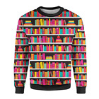 Library Book Case Mens Sweatshirt XS - 3XL All-Over-Print