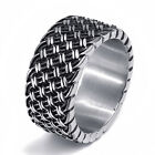Men's Boy's 12MM Elegant Weave Knot Stainless Steel Band Ring jewelry Size 8-15
