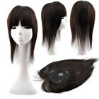 "4.3''x4.7"" Womens Human Hair Topper Hairpiece Toupee Straight Bang Half Wig 16"""