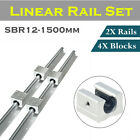 Kyпить 2X SBR12 300-1500mm Linear Rail Shaft Rod Guideway + 4Pcs SBR12UU Block For CNC на еВаy.соm