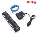 7 Port USB 3.0 Hub On Off Switches AC Adapter Cable Splitter for Laptop Desktop