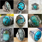 925 Sterling Silver Turquoise Gems Ring Men Women Wedding Party Gypsy Size 6-10