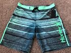 BRAND NEW HURLEY PHANTOM BLACK GREEN MENS BOARD SHORTS 33 34 x 20