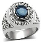 New Men's Sophisticated Polished Oval Dark Sapphire Blue Fashion Ring Sizes 8-13