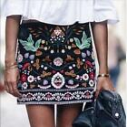 2017 NEW A/W BLACK FLORAL EMBROIDERED MINI SKIRT. BLOGGERS fashion Dress SizeS-L