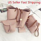 4pcs/Set Women Leather Handbag Shoulder Tote Purse Messenger Satchel Clutch Bag