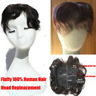 30g Human Hair Top Toupee Curly Bangs Fluffy Hair Replacement Top Piece