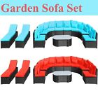 Red Bluerattan Sofa Set Cushioned Sun Loungers In/outdoor Garden Patio Furniture
