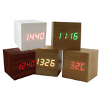 Modern Cube Wooden Wood Digital LED Desk Voice Control Alarm Clock