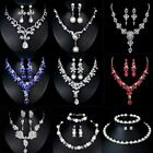 Crystal Pearl Necklace Earrings Women Lady Jewelry Set Bridesmaid Bridal Wedding