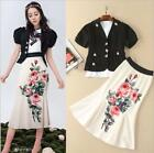 Runway 2018 Women Jacket t-shirt+Skirt Suits Print Luxury Female Sets Wholesale
