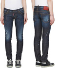 """DSQUARED² """"Clement"""" Slim Blue Distressed Jeans with Chain NEW NWT"""