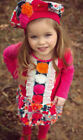 Zaza Couture 2pc Toddler Girls Dress & Beret Hat Hot Pink Ivory Long Sleeves 4T