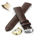 Luxury Curved End Watch Strap Genuine Leather Calf Crock Grain Black or Brown
