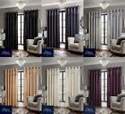 Luxury Sequin Top Border Ring Top Eyelet Lined Pair Curtains, Including Tiebacks