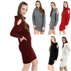 Womens Ladies Chunky Knitted Shoulder Cut Roll Over Neck Tunic Jumper Dress Top