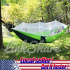 US LOCAL 2 Person Travel Outdoor Camping Hanging Hammock Bed With Mosquito Net 0