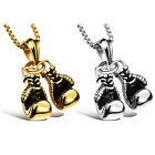 Boxing Double Fist Gloves Pendant Stainless Steel Chain Necklace Sport Jewelry