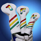 Craftsman Golf Headcover Set - DR, FW, HB - White with Colorful Stripes New