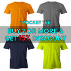 MENS POCKET T SHIRT SHORT SLEEVE SHIRTS PLAIN SOLID CASUAL COTTON TEE WORK DAILY image