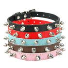 Spiked Studded PU Leather Puppy Small Dog Collars Adjustable Black Red Pink