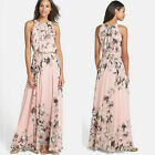 Ladies Chiffon Sleeveless Floral Long Maxi Skirt Dress Club Formal Party Dresses