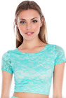 NWT City Goddess Mint Lace Short Sleeved Crop Top Blouse 8 12 14