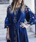 ZARA NAVY FLORAL EMBROIDERED DRESS TUNIC FLOWING KLEID BLUMENSTICKEREI STICKEREI