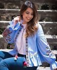 ZARA SEQUIN EMBROIDERED STRIPED JACKET BLOUSE KIMONO BLUSE JACKE STICKEREI S - M