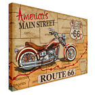 Route 66 motorbike Canvas Print Crafted In London - Quality Assured