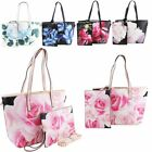 New Floral Printed Synthetic Leather Women's Wristlet Clutch Tote Bag Set