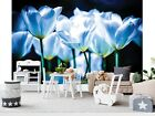 Wall Mural Photo Wallpaper Picture EASYINSTALL Fleece Flowers Lounge White-Blue