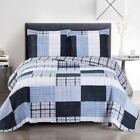 Contemporary Zoe Reversible Blue Printed Patchwork Hypoallergenic Bed Quilt Set image