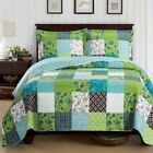 Bright Rebekah Spring Garden Style Oversized Quilt Set Wrinkle-Free Coverlet Set image